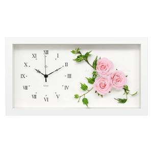 「ボックスフレームクロック (壁掛け時計)  ピンクローズ 」 (名入れ時計 オリジナル時計 新築祝い 結婚祝い 贈り物) 『代引き不可商品』|starkids