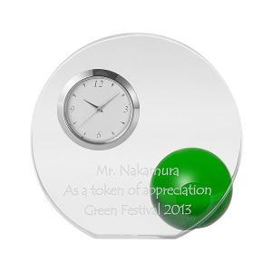「ラウンド&ボール置き時計 グリーン」 新築祝い,記念品,結婚祝いにどうぞ (代引き不可商品)|starkids