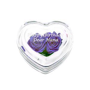 「プリザーブドフラワー ハートガラスケース入 バイオレット」 (誕生日 記念日 結婚祝い 贈り物 名入れ) 『代引き不可商品』|starkids