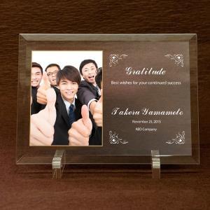 ガラス楯「サンクス」感謝状・表彰状ガラスプレート  写真、メッセージをカラー印刷|starkids