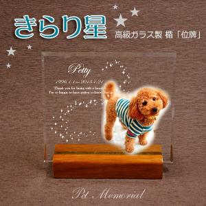 ペット メモリアル モニュメント「きらり星」高級ガラス楯・位牌 写真 名入れ【オーダーメイド製作】|starkids
