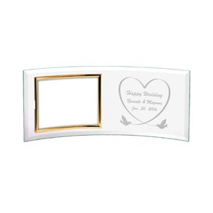 「ガラスフォトフレーム カーブL (横)」  (誕生日 記念日 結婚祝い 内祝い 出産祝い 贈り物 名入れ) 『代引き不可商品』|starkids