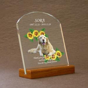 ペット メモリアル モニュメント「お花畑」高級ガラス楯 位牌 写真 名入れ|starkids