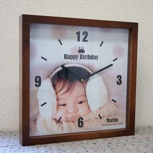 母の日木枠フレーム時計