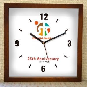 会社ロゴ時計 「四角いフレームの時計(木製)」オリジナル時計 企業ロゴマーク 名入れ 開店祝い 開業祝い 開院祝い 周年 創業 竣工 記念|starkids