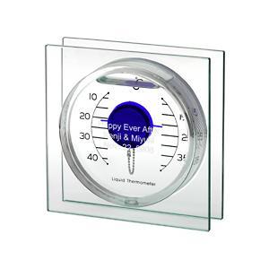 「スクエアリキッド温度計 ブルー (S)」  (誕生日 結婚記念日 結婚祝い 内祝い 新築祝い 贈り物 名入れ) 『代引き不可商品』|starkids