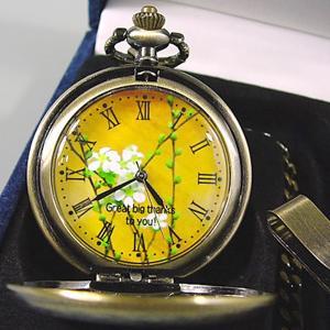 写真 時計「懐中時計 燻し金・燻し銀」 写真文字盤  名入れ オリジナル 記念品 誕生日 新築祝い 結婚祝い 還暦 退職祝い 周年記念 贈り物