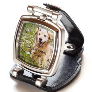 写真 時計「ベルト装着&スタンド2WAY時計 スクエア型」 写真文字盤  名入れ オリジナル 記念品 誕生日 新築祝い 結婚祝い 還暦 退職祝い 周年記念 贈り物|starkids