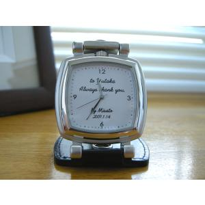 「ベルト装着&スタンド2WAY時計 スクエア型 シンプルデザイン」 オリジナル時計 名入れ  誕生日 還暦 退職 両親 父の日 ギフト|starkids