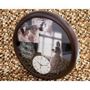 写真 時計「思い出写真館 Wedding BIG壁掛け時計」名入れ オリジナル 新築祝い 結婚祝い 結婚記念 金婚式 銀婚式 周年記念 贈り物|starkids