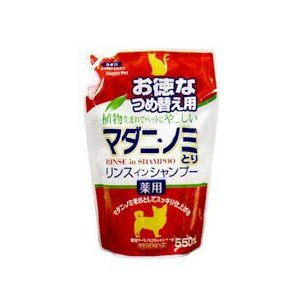 アース・バイオケミカル 薬用マダニ・ノミとりリンスインシャンプー犬猫用つめ替え 550ml|starlive