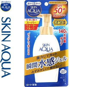 スキンアクア スーパーモイスチャージェル SPF50+/PA++++ ポンプ 140g / ロート製薬 スキンアクア|starmall