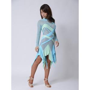 軽やかライトブルードレス  社交ダンス ドレス   ボールルームドレス  競技 デモ 発表会 ダンス衣装 |starreed