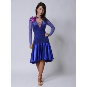サテンシフォンが美しいロイヤルブルードレス 社交ダンス  ボールルーム アメリカンスムース 競技 デモ 発表会 ダンス衣装|starreed