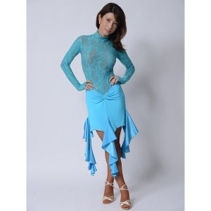 ストレッチレースで動きやすいブルーのドレス 社交ダンス  ボールルーム 競技 デモ 発表会 ダンス衣装|starreed