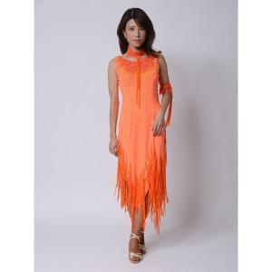 オレンジのフリンジロングラテンドレス  社交ダンス ドレス   ボールルームドレス  競技 デモ 発表会 ダンス衣装 |starreed