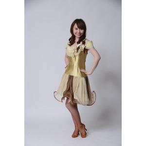サーキュラースカートが可愛いゴールドドレス  社交ダンス ドレス   ボールルームドレス  競技 デモ 発表会 ダンス衣装 |starreed