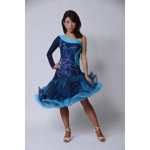 ボリューミー斜めスカートのネイビードレス  社交ダンス ドレス   ボールルームドレス  競技 デモ 発表会 ダンス衣装 |starreed