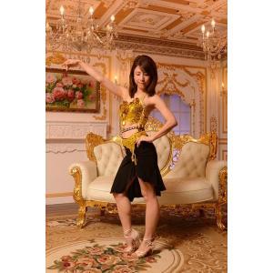 ホルターネック+セパレーツのゴールドブラック(金色と黒) 社交ダンス ドレス   ボールルームドレス  競技 デモ 発表会 ダンス衣装 |starreed
