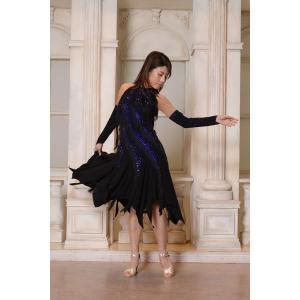 ホルターネック風ネイビー&ブラック  フリンジドレス  社交ダンス ドレス   ボールルームドレス  競技 デモ 発表会 ダンス衣装 |starreed