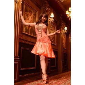 フレアーシャンパンオレンジドレス  社交ダンス  ボールルーム 競技 デモ 発表会 ダンス衣装|starreed