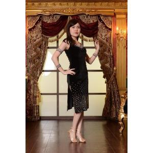 ブラックベルベット スリットドレス  社交ダンス ドレス   ボールルームドレス  競技 デモ 発表会 ダンス衣装 |starreed