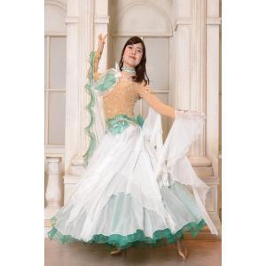 エメラルドグリーン&ホワイト コンビ 社交ダンス ドレス   ボールルームドレス  競技 デモ 発表会 ダンス衣装 ワンピース|starreed
