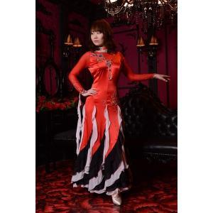 レッド(赤)&ブラック(黒)ドレス 社交ダンス ドレス   ボールルームドレス  競技 デモ 発表会 ダンス衣装 ワンピース|starreed