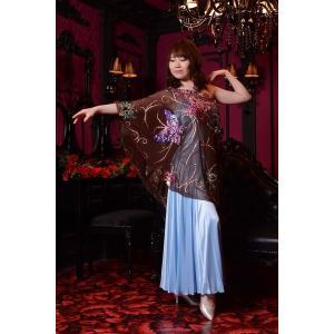 バタフライ・クリスタルビジューが豪華なブルー&ブラウンドレス  社交ダンス  ボールルームドレス  アメリカンスムース 競技 デモ 発表会 ダンス衣装|starreed