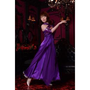 鮮やかなパープル(紫)ドレス 社交ダンス ドレス   ボールルームドレス  競技 デモ 発表会 ダンス衣装 ワンピース|starreed