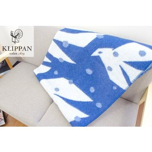 KLIPPAN / クリッパン ウールブランケット TRIP ブルー&ホワイト 130×180cm