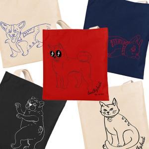 トートバック キャンバス・ショッパー・トート 柴犬、パグ、コーギー、フレンチ、猫 LoveThyBeast ラブ・ザイ・ビースト|starry