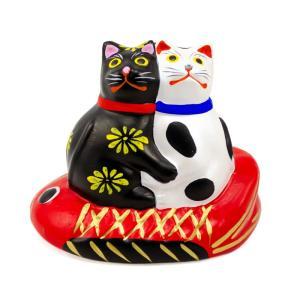 堤人形 つつみのおひなっこや 鯛のり寄り添い猫 和のインテリア 土人形 伝統工芸 【クラフト】