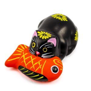堤人形 つつみのおひなっこや 鯛引き寄せ猫 黒猫 幅8.5cm 和のインテリア 土人形 伝統工芸 【...