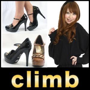 ラウンドトゥ パンプス Climb ( クライム )(2628) ローファー エナメル ゴールドリング ストラップ付 ハイヒール starsent