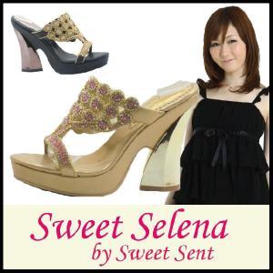 ミュール サンダル Sweet Selena by SweetSent ( スウィートセレナ スウィートセント )(6209) ラインストーン パーティー 太ヒール|starsent
