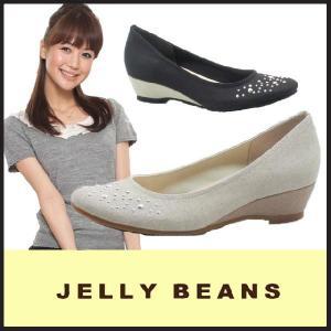 ジェリービーンズ JELLY BEANS ラウンドトゥ パンプス PUMPS(109-475)ウェッジソール スタッズ付 ミドルヒール 黒|starsent