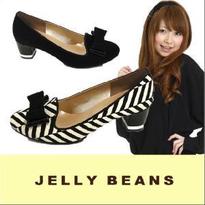 ジェリービーンズ JELLY BEANS ラウンドトゥ オペラパンプス PUMPS(5501)サテン リボン ボーダー 太ヒール|starsent