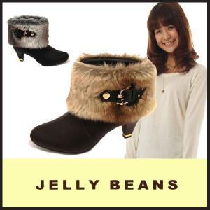 ジェリービーンズ JELLY BEANS ショートブーツ ブーティ BOOTS(5229)2way ファー ベルト付 カジュアル 黒|starsent