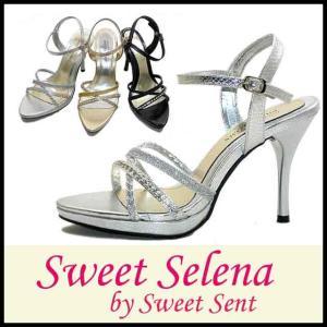 ハイヒール サンダル Sweet Selena by SweetSent (SS49) 厚底 美脚 ラウンドトゥ レディース エナメル|starsent
