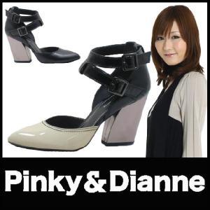 ポインテッドトゥ パンプス PUMPS Pinky&Dianne (ピンキー&ダイアン)(SS29) レザー エナメル ダブルストラップ セパレート 太ヒール starsent
