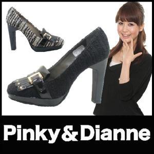 ラウンドトゥ パンプス PUMPS Pinky&Dianne (ピンキー&ダイアン)(SS33) レザー エナメル ツィード生地 太ヒール|starsent