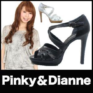 オープントゥ パンプス PUMPS ピンキー&ダイアン(Pinky&Dianne)(SS66) ハイヒール クロスベルト ストーム コルクヒール レザー 型押し starsent
