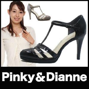 ラウンドトゥ パンプス PUMPS ピンキー&ダイアン (Pinky&Dianne)(SS74) ハイヒール Tストラップ グラディエーション レザー エナメル|starsent