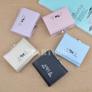 財布 ウォレット 三つ折り財布 パスケース カードケース カード入れ がま口 小銭入れ コインケース フェイクレザー レディース 猫 ネコ 可愛い start666