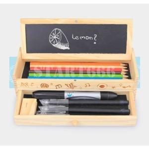 ペンケース 筆箱 筆入れ 木製 黒板付き 筆記具 小物入れ アクセサリーケース ジュエリーボックス 可愛い たっぷり収納 小学生 中学生 高校生 start666