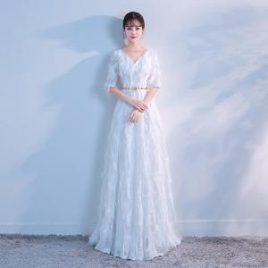 ウエディングドレス 二次会 aライン 安い 長袖 ロングドレス 結婚式 花嫁 ウエディングドレス 白 パーティードレス 演奏会 フォーマルドレス サッシュベルト