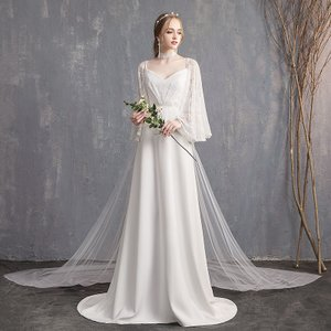 57d32269b07a8 ウエディングドレス aライン 白 安い 長袖 ウェディングドレス 花嫁 結婚式 レース パーティードレス 二次会 ブライダル ロングドレス ボレロ  イブニングドレス