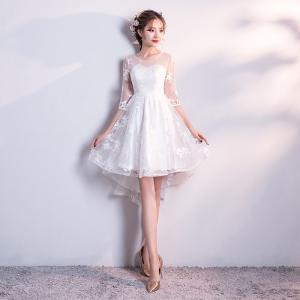 ■背中のデザイン:ファスナー  ■素材:紗/シフォン/サテン/ラインストーン/レース  ■カラー:白...