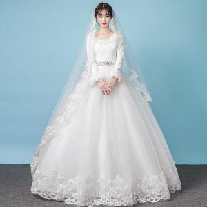 bab946a747abc ウェディングドレス 長袖 安い 花嫁 プリンセスラインドレス 結婚式 白 ウエディングドレス ブライダル ドレス 披露宴 二次会 パーティードレス  サッシュリボン